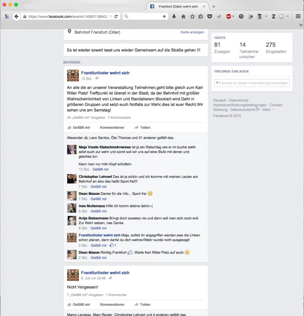 """Notfalls mit Gewalt: Aufruf auf der Facebook-Seite von """"Frankfurt/Oder wehrt sich"""" fünf Tage vor der Kundgebung."""