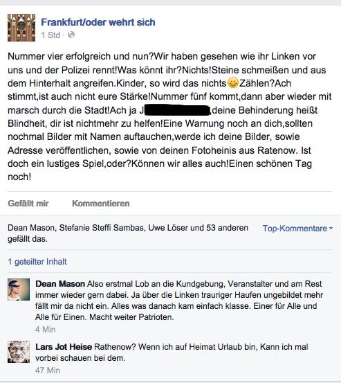 Kurz nach dem Aufmarsch bedrohten die Neonazis auf Facebook eine*n Antifaschist*in sowie Pressevertreter. Der Eintrag verschwand wenig später wieder von der Seite.