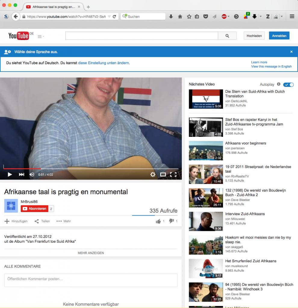 """Seine Liebe zum Apartheidsregime Südafrikas drückt er in diesem Video aus. Sein selbsterstelltes Album """"Van Frankfurt toe Suid Afrika"""" erschien 2012. Im Video ist Brusak vor der alten Fahne Südafrikas zu sehen… (Quelle: youtube.com)"""