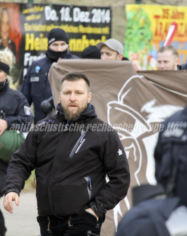 Wieder aktiv: Maik Eminger nimmt wieder verstärkt an Aufmärschen teil. In Frankfurt hielt er sogar eine Rede. (Foto: pressedienst frankfurt (oder))