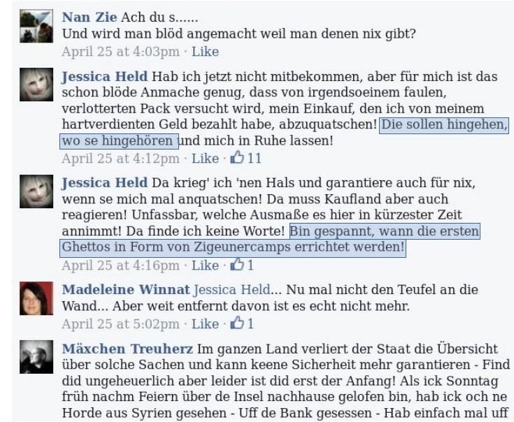 """Auszüge aus dem Kommentarbereich der Facebook-Gruppe """"Bürgerwehr Eisenhüttenstadt"""". Von rassistischen Ängsten bis … (screenshot: facebook)"""