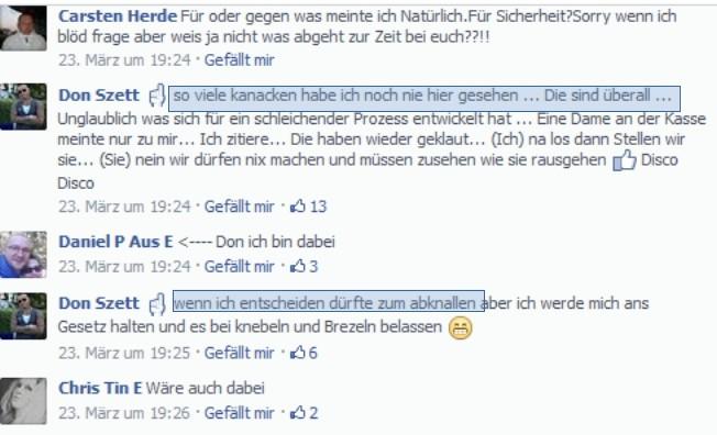 … zu Gewaltphantasien. Es wird kein Blatt vor den Mund genommen. (screenshot: facebook)