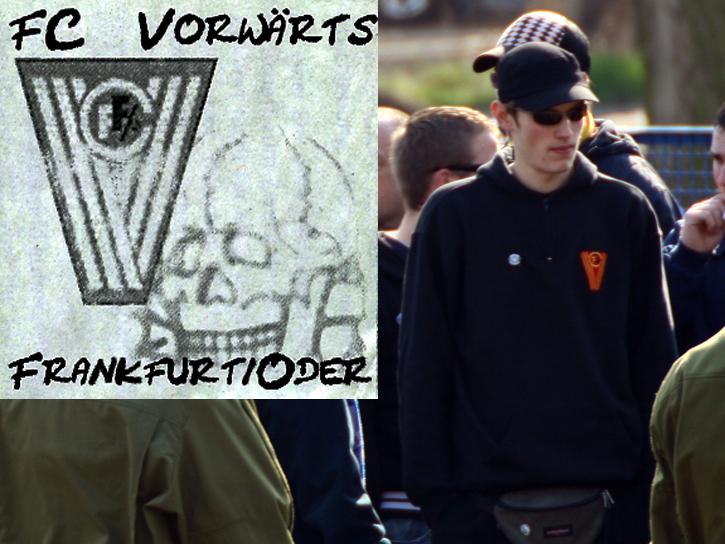 Sven Freimuth, eine zentrale Figur des gewalttätigen FFC-Anhangs. Links: Selbstentworfener Sticker mit FCV-Logo und SS-Totenkopf.
