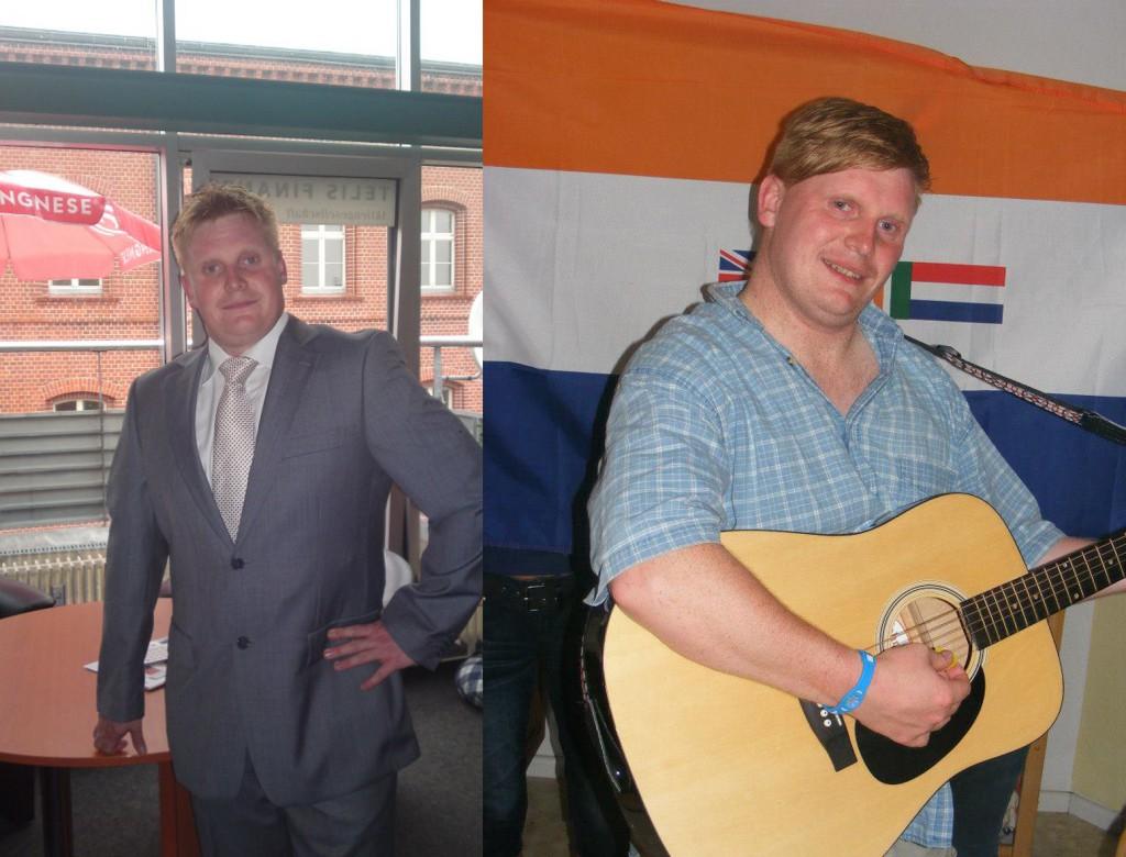 Ob im Büro mit Anzug oder mit Gitarre vor der Fahne des südafrikanischen Apartheidsregimes: Björn Brusak aus Frankfurt (Oder). (Quelle: facebook)