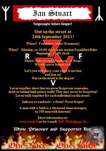 Nazi-Flugblatt mobilisiert zur Demonstration in Frankfurt (Oder).