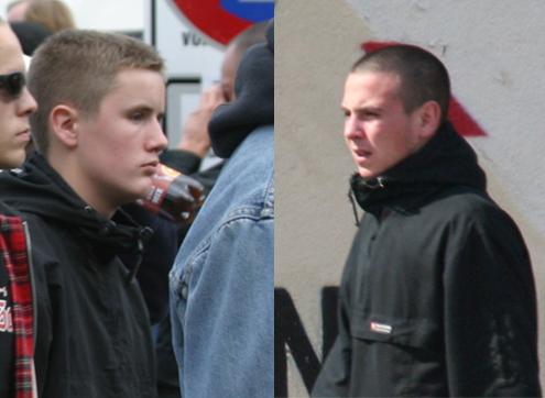 Gewaltbereite FCV-Ultras: Christoph Schöfisch (links, hier auf einer Neonazidemonstration am 21.10.2006 in Berlin) und Markus Polenske (rechts).
