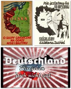 Drei Varianten die sich Widersprechen: Polnische und deutsche Großmachtsansprüche, deren Anhänger*innen sich auf einer Demonstration tummeln. (Quelle: facebook)